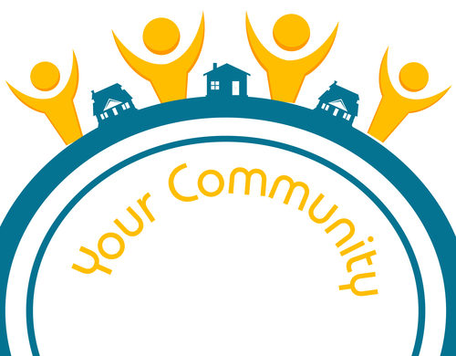 """a clipart illustration of 4 yellow silhouettes of people in between 3 blue sillohetes of houses above text that reads """"Your Community"""""""